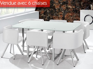 Table damier XL 6 chaises blanc