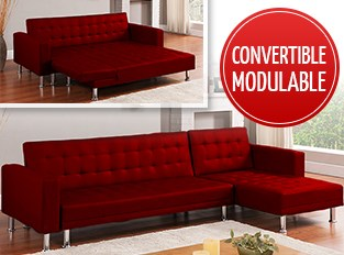 Canapé d'angle convertible Rouge LOS