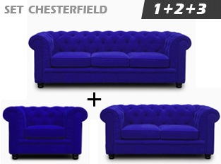 Set Chesterfield Bleu en velours