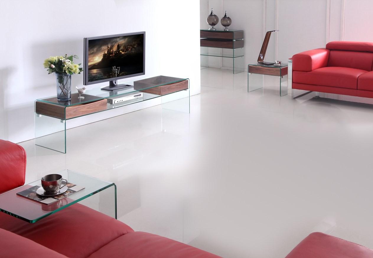 Meuble  Télé Glasswood en verre et bois