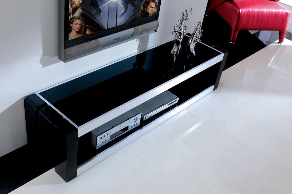 Meuble télé Marley en bois laqué Noir