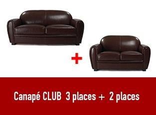 Set deux canap�s Club 2 et 3 places marron