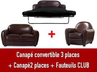 Set 3 canap�s Club 3 places convertible 2 places et Fauteuil marron