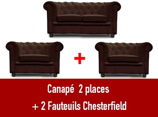 Set 3 Chesterfield un  canapé 2 places et 2 fauteuils marron