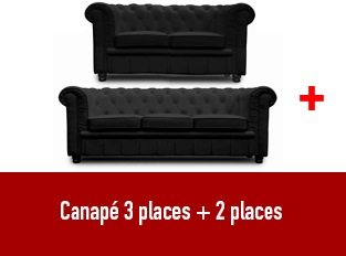 Set 2 canap�s Chesterfield 3 et 2 places noir