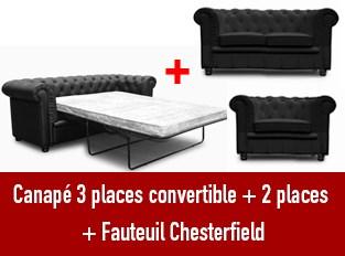 Set 3 canap�s Chesterfield 3 places convertible 2 et un fauteuil noir