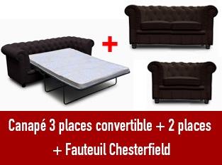 Set 3 canap�s Chesterfield 3 places convertible 2 et un fauteuil marron
