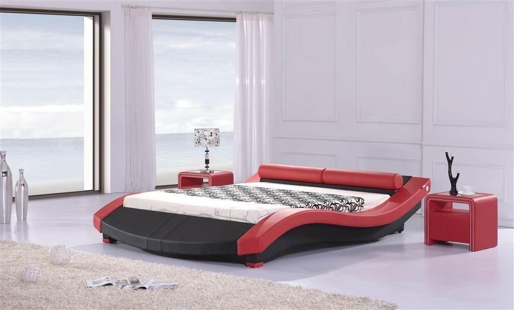 Lit design Karina 140cm en rouge et noir