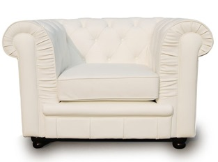 Fauteuil Chesterfield 1 place blanc