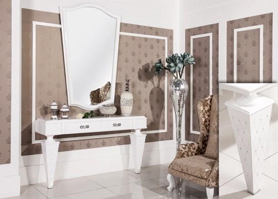 Console gamme Diamond en bois blanc laqué