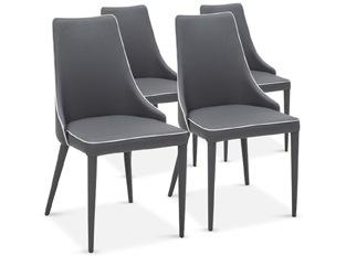 Chaises Design Marco Gris Liseré Blanc VENDU PAR 4