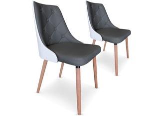 Chaises Design  Cl�op�tre Bois Blanc et Gris VENDU PAR 2