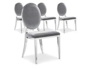 Chaises Design Sara Velours Argent VENDU PAR 4
