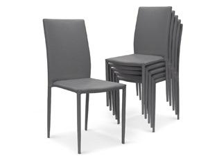 Chaises Design empilables Aloa simili-cuir Gris VENDU PAR 6