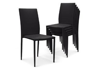 Chaises Design empilables Aloa simili-cuir Noir VENDU PAR 6