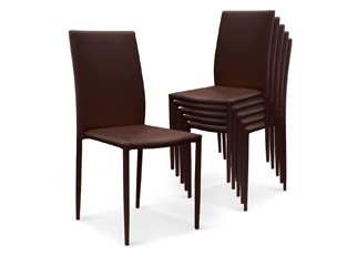 Chaises Design empilables Aloa simili-cuir Marron VENDU PAR 6