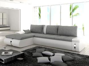 Canapé d'angle convertible design COSI blanc et gris