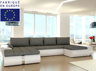 Canapé d'angle convertible design COSI XL BLANC