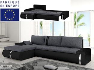 Canapé d'angle convertible design COSI noir et gris
