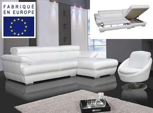 Canap� d'angle convertible design Belle Blanc