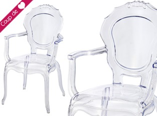 LOT DE 2 Fauteuil Polycarbonate transparent