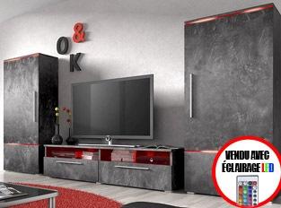 Ensemble meuble TV couleur effet bêton ciré design PRADOR LED