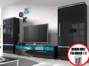 Ensemble meuble TV couleur laqué noir brillant avec éclairage LED PRADOR