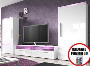 Ensemble meuble TV couleur laqué blanc brillant avec éclairage LED PRADOR