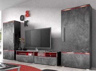 Ensemble meuble TV couleur effet bêton ciré design PRADOR