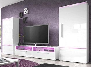 Ensemble meuble TV couleur laqué blanc brillant PRADOR