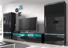 Ensemble meuble TV couleur laqué noir brillant avec éclairage PRADOR