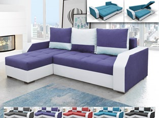Canap� d'angle r�versible convertible design ARIZONA Blanc Violet