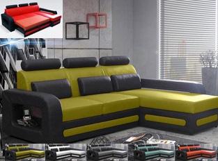 Canap� d'angle convertible noir jaune en PU BEROCA mini