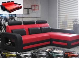 Canap� d'angle convertible noir rouge en PU BEROCA mini