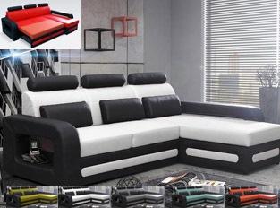 Canap� d'angle convertible noir blanc en PU BEROCA mini