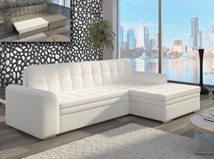 Canapé d'angle convertible design LORA Blanc PU