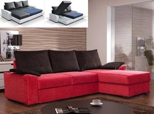 Canap� d'angle convertible design STONE bicolore Rouge Marron Tissu