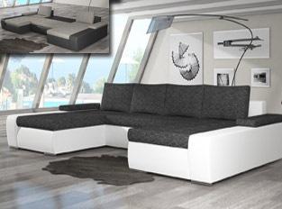 Canap� d'angle universel convertible design MARINA bicolore Blanc Gris