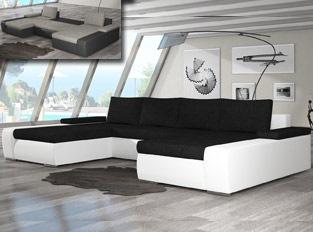 Canap� d'angle universel convertible design MARINA bicolore Blanc Noir
