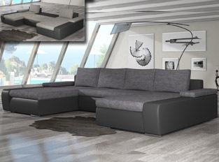 Canap� d'angle universel convertible design MARINA bicolore Noir Gris clair
