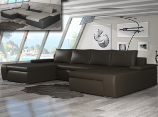 Canap� d'angle universel convertible design MARINA Marron PU