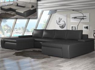 Canap� d'angle universel convertible design MARINA Noir PU
