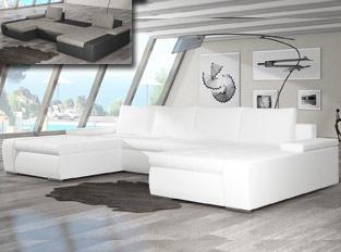 Canap� d'angle universel convertible design MARINA Blanc PU