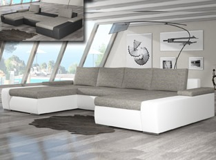 Canapé d'angle universel convertible design MARINA bicolore Blanc Beige