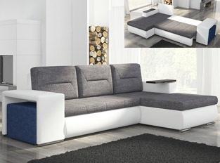 Canap� d'angle convertible design OCTAVIO Blanc Gris