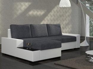 Canap� d'angle convertible design NEGRA Blanc Gris
