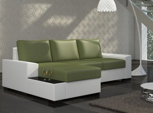 Canap� d'angle convertible design NEGRA Blanc Vert