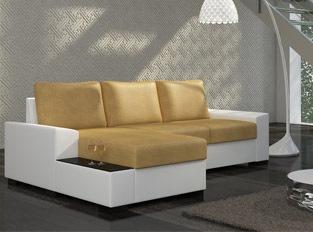 Canap� d'angle convertible design NEGRA Blanc Jaune