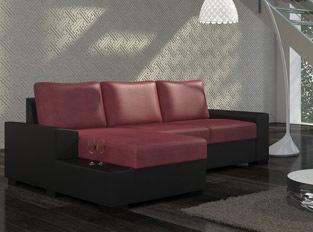 Canap� d'angle convertible design NEGRA Noir Rouge PU