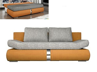 Banquette convertible design COSI orange et gris
